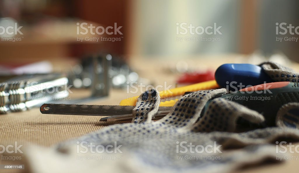 Working tool and work gloves stock photo