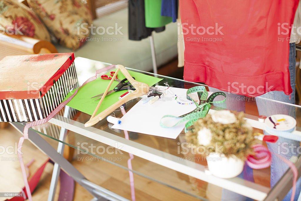 working tools of designer clothing stock photo