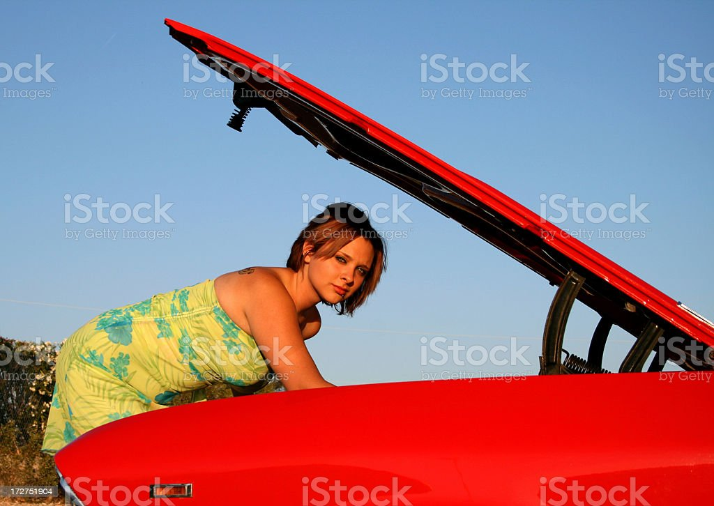 Working under the hood royalty-free stock photo