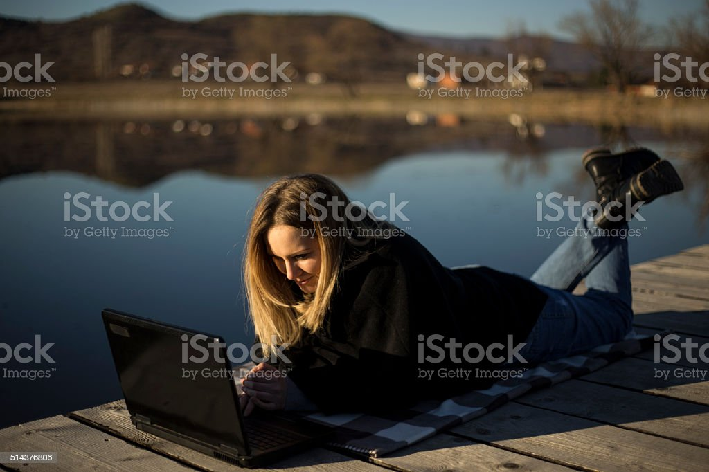 working vacation stock photo