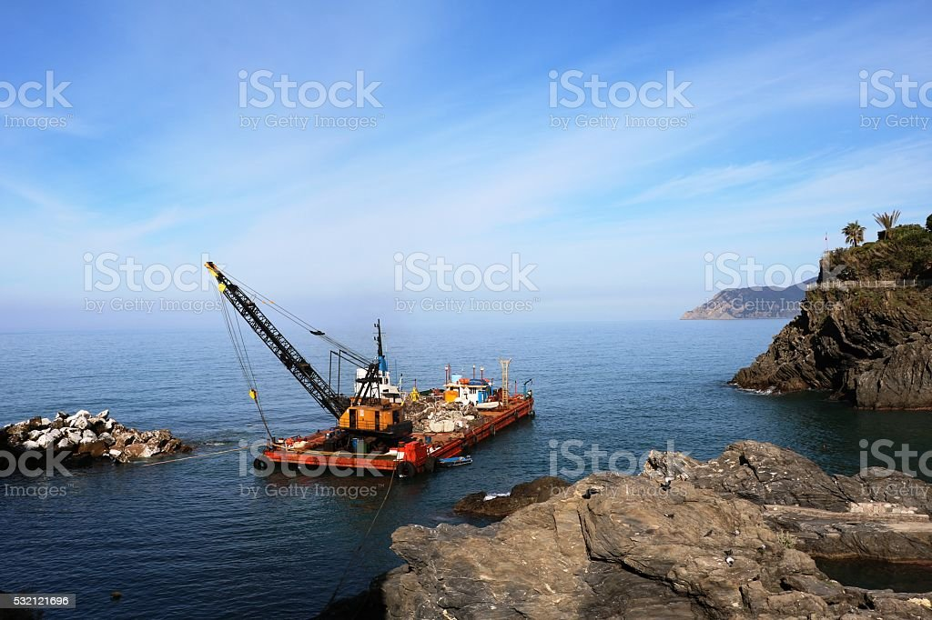 Working vessels on the Italian Riviera, Cinque Terre Italy stock photo