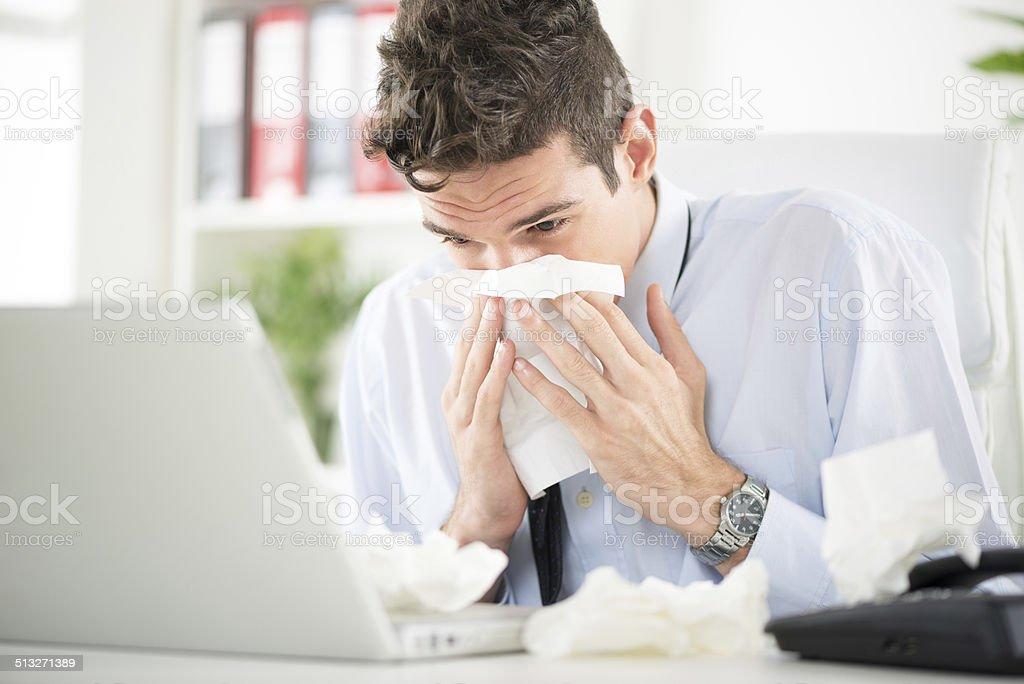 Working when sick stock photo