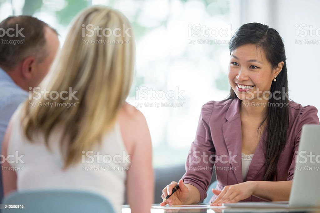 Working with a Financial Planner stock photo