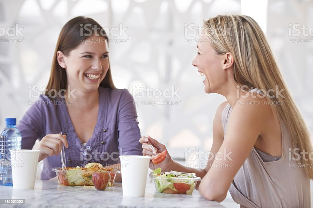 Working with a friend is the best royalty-free stock photo