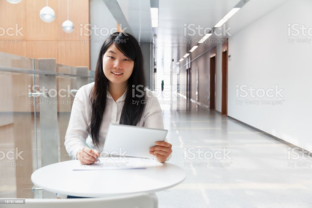 Working with a tablet pc royalty-free stock photo