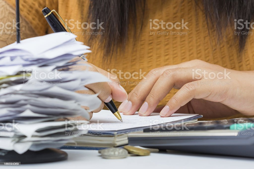 Working with bills royalty-free stock photo