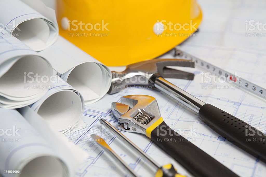 working with bluepirnt royalty-free stock photo
