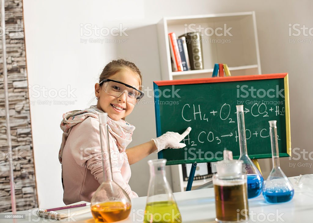 Working with chemical reagents stock photo