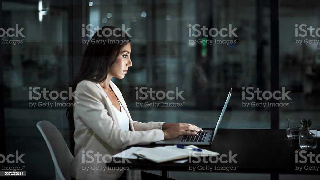Working with commitment and focus stock photo