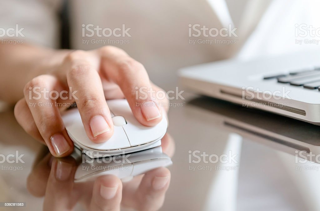 Working with computer stock photo