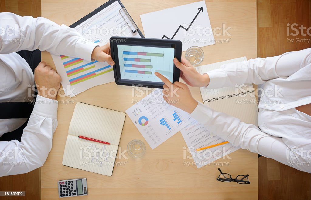 Working with digital tablet royalty-free stock photo