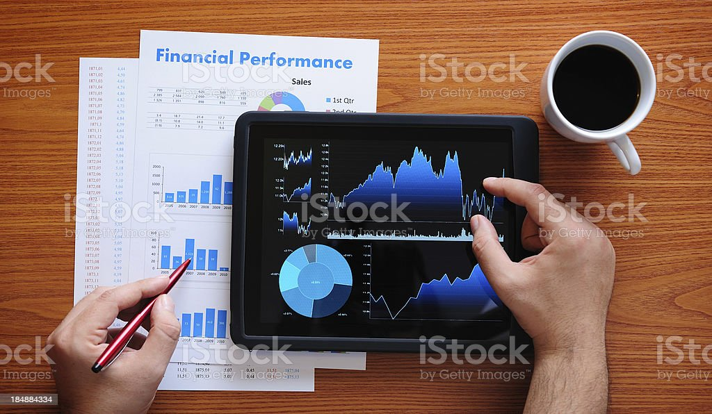 Working with digital tablet stock photo