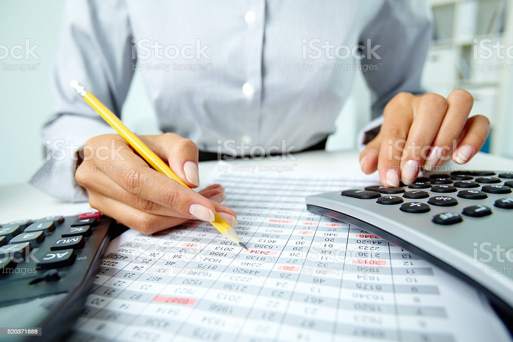 Working with documents stock photo