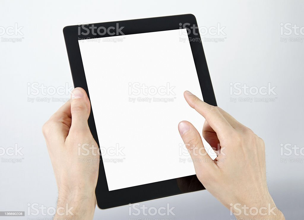 Working With Electronic Tablet PC royalty-free stock photo