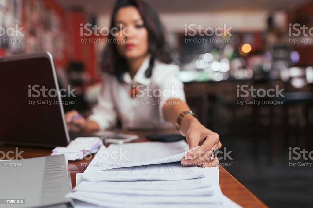 Working with financial documents stock photo