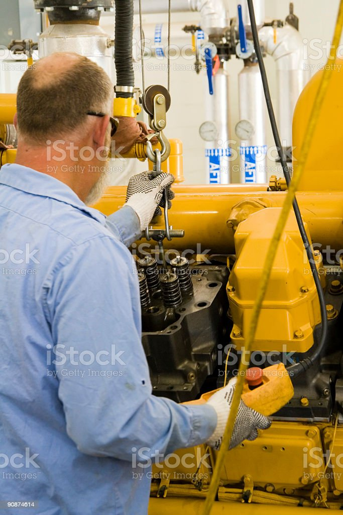 Working with large engine royalty-free stock photo
