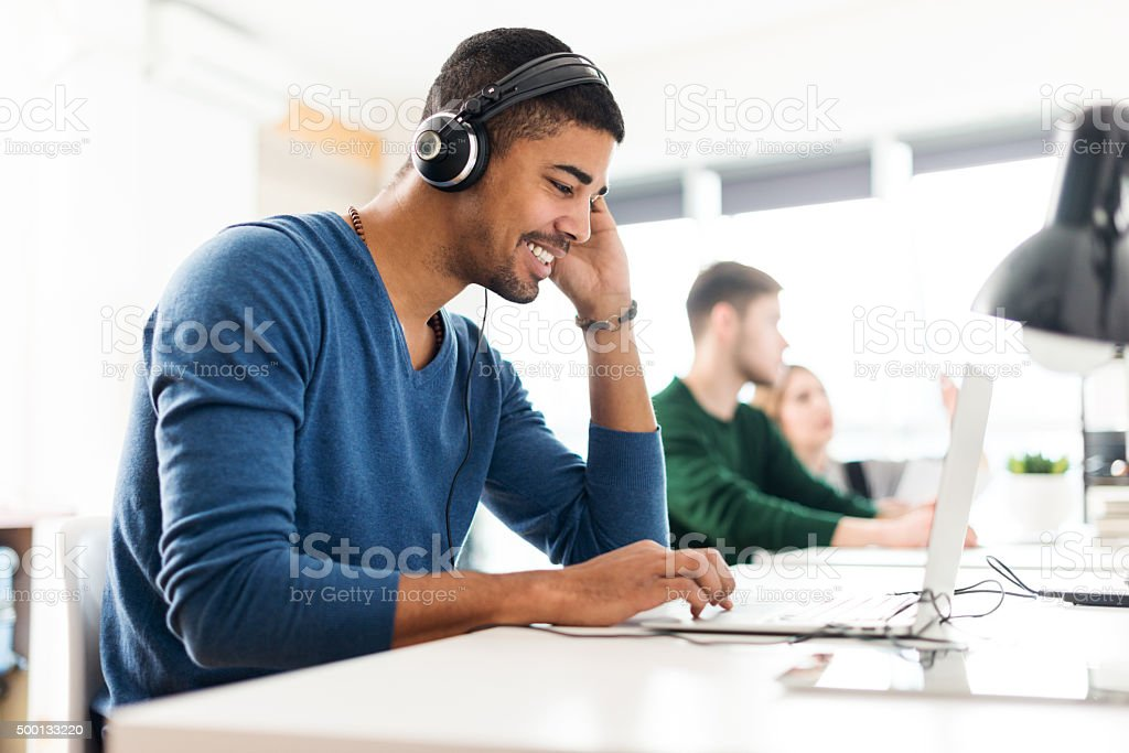 Working with music stock photo