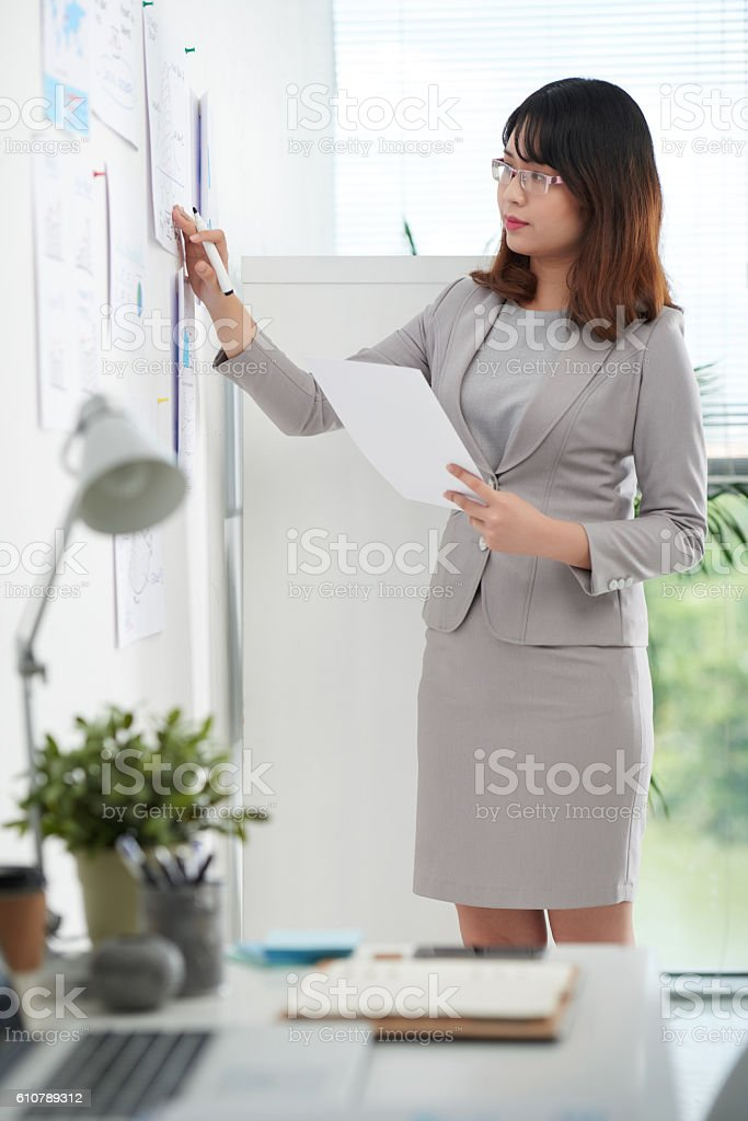 Working with papers stock photo