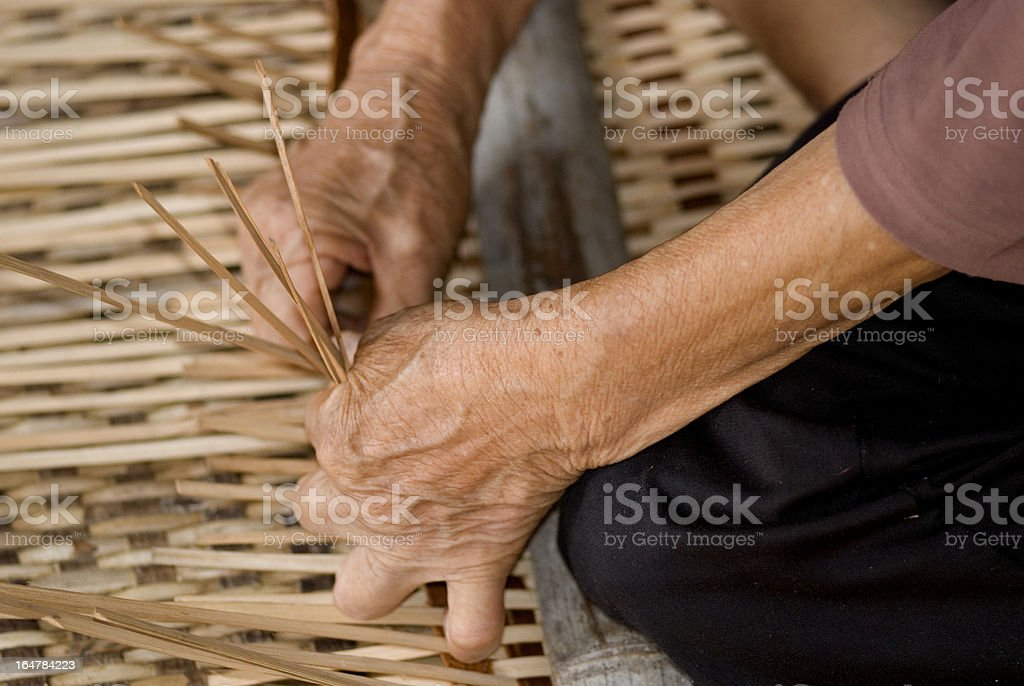 Working with rattan, Annah Rais, Sarawak, Borneo, Malaysia stock photo