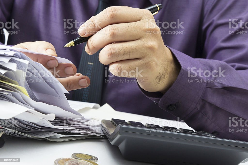 Working with receipts royalty-free stock photo
