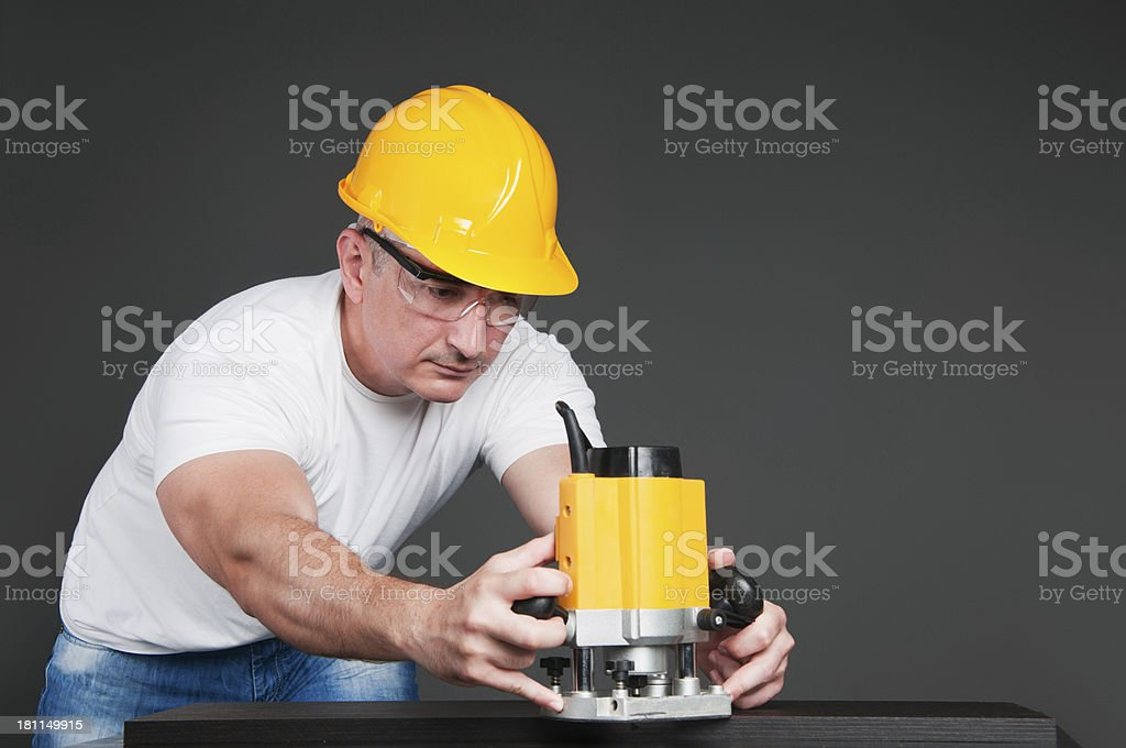 Working with router royalty-free stock photo