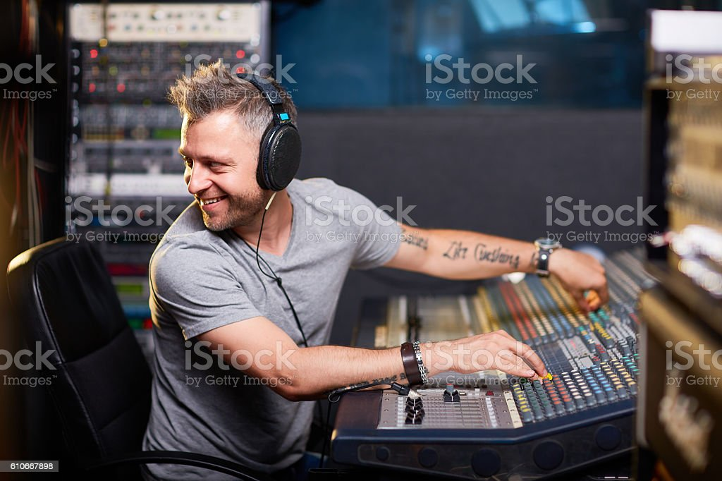 Working with sounds stock photo