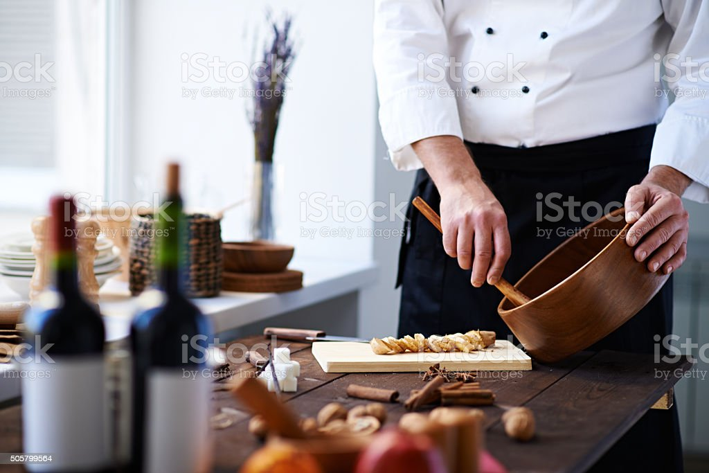 Working with spices stock photo