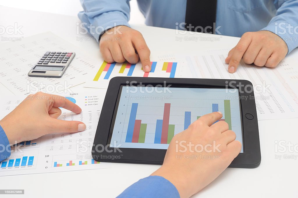 Working with tablet pc royalty-free stock photo