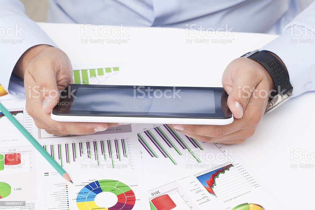 Working With Tablet royalty-free stock photo