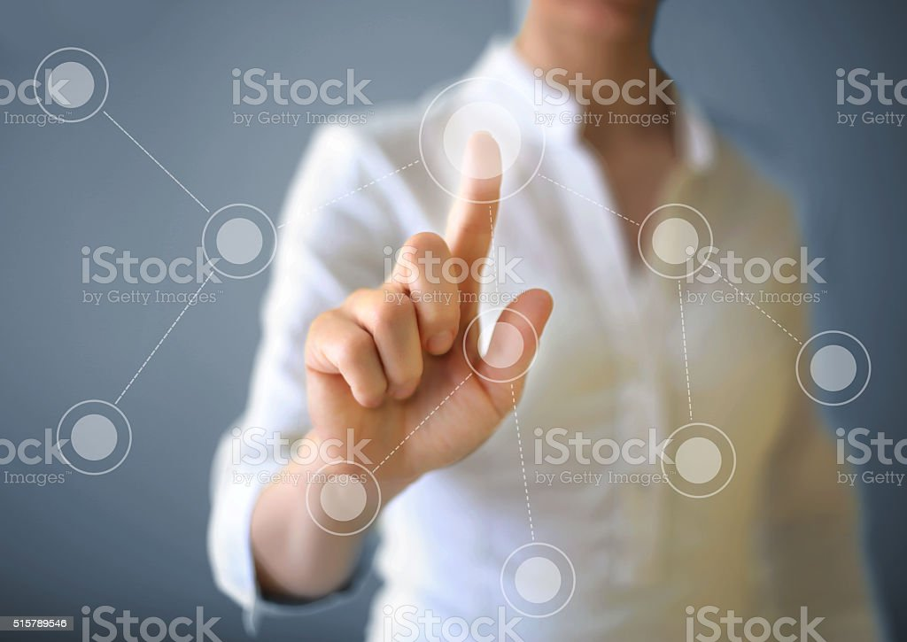 Working with touch screen stock photo