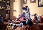 Working with virtual reality headset