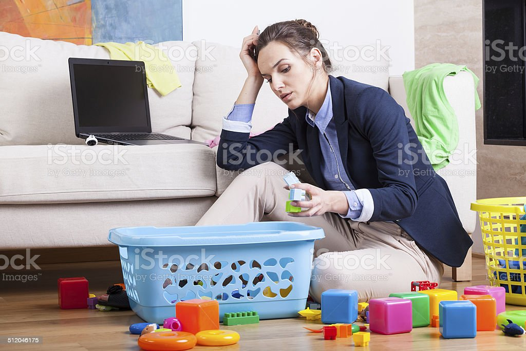 Working woman after long day stock photo