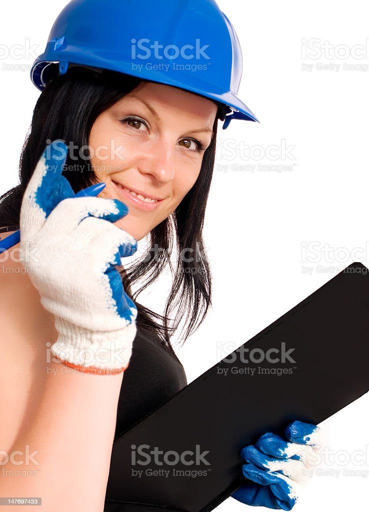 working woman in helmet over white royalty-free stock photo