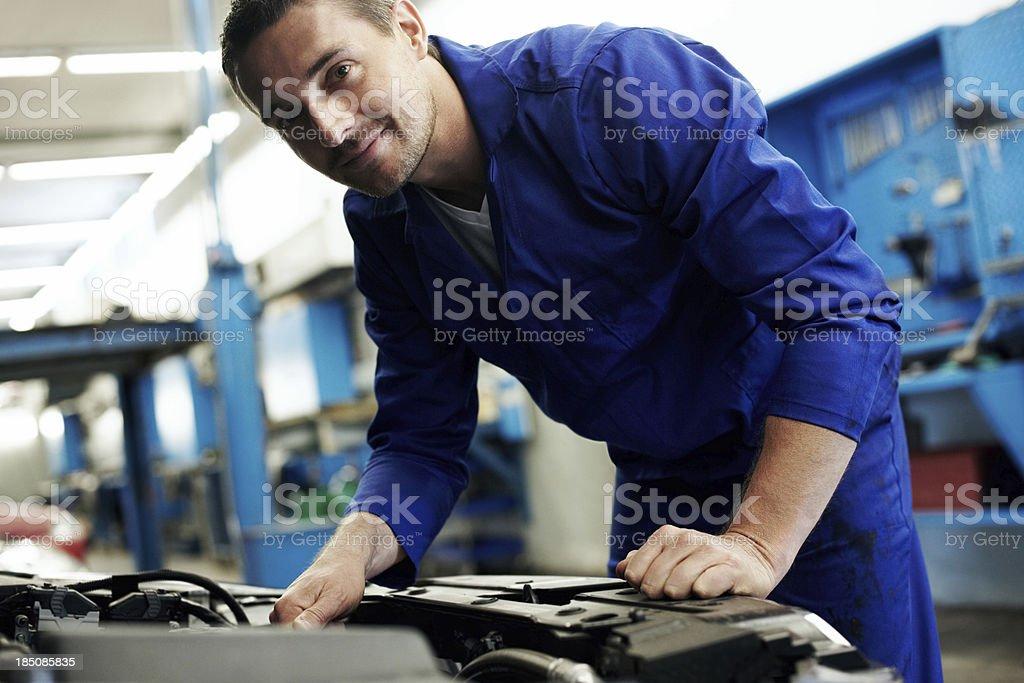 Working wonders in his workshop! stock photo