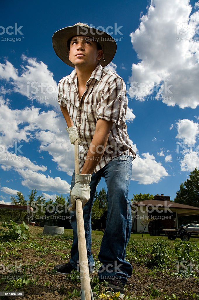 Working young farmer royalty-free stock photo