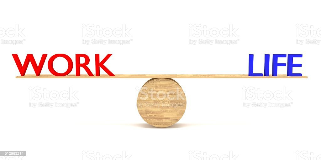work–life balance: words on a wooden seesaw stock photo