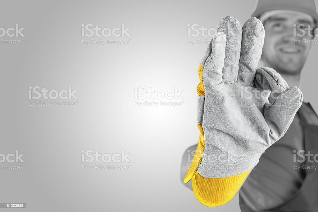 Workman making a perfect gesture stock photo