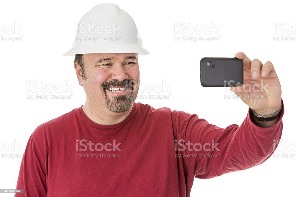 Workman posing for a self-portrait stock photo