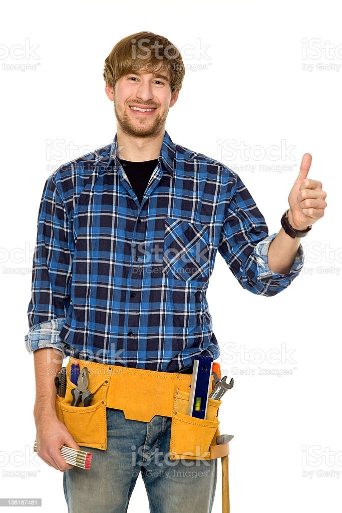 Workman showing thumbs up stock photo