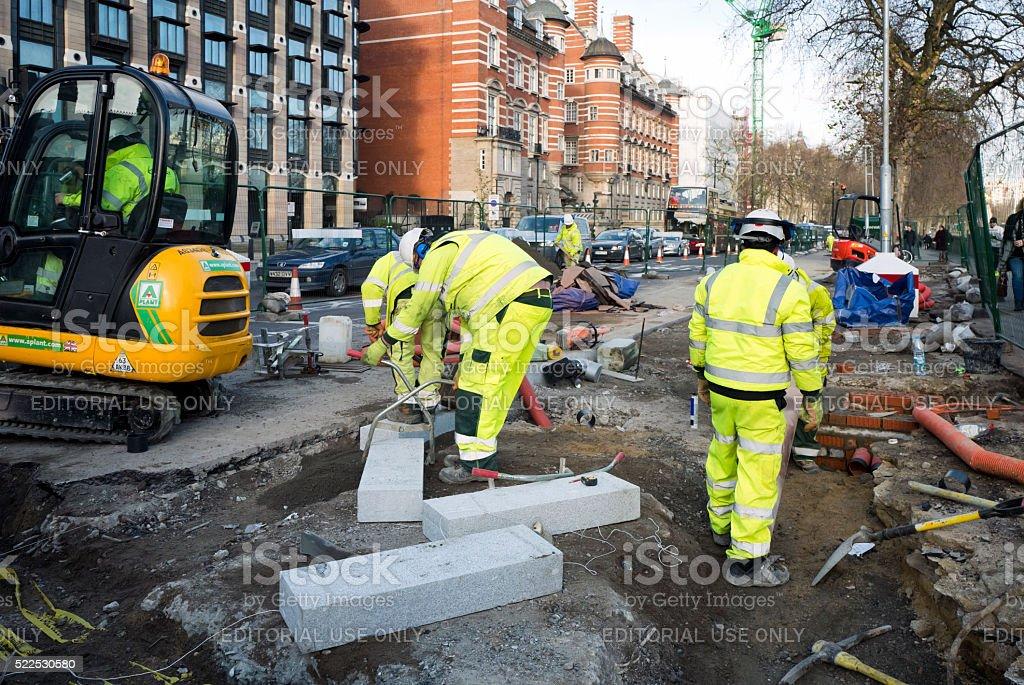 Workmen on the Embankment, London stock photo