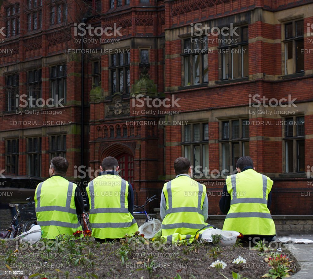 Workmen Taking A Break stock photo
