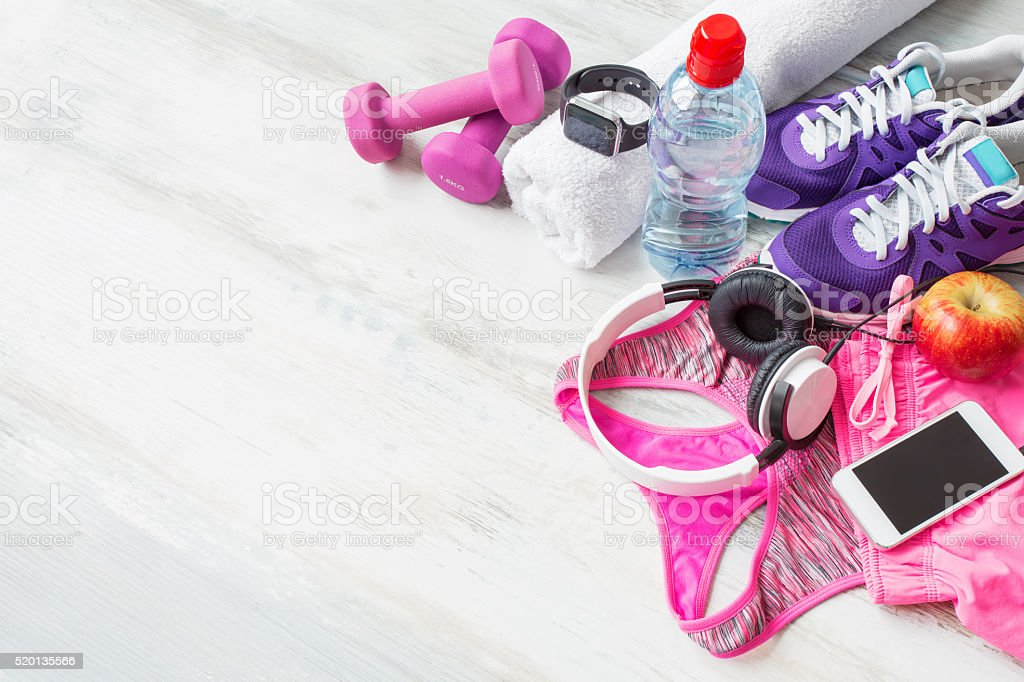 Workout accessories stock photo