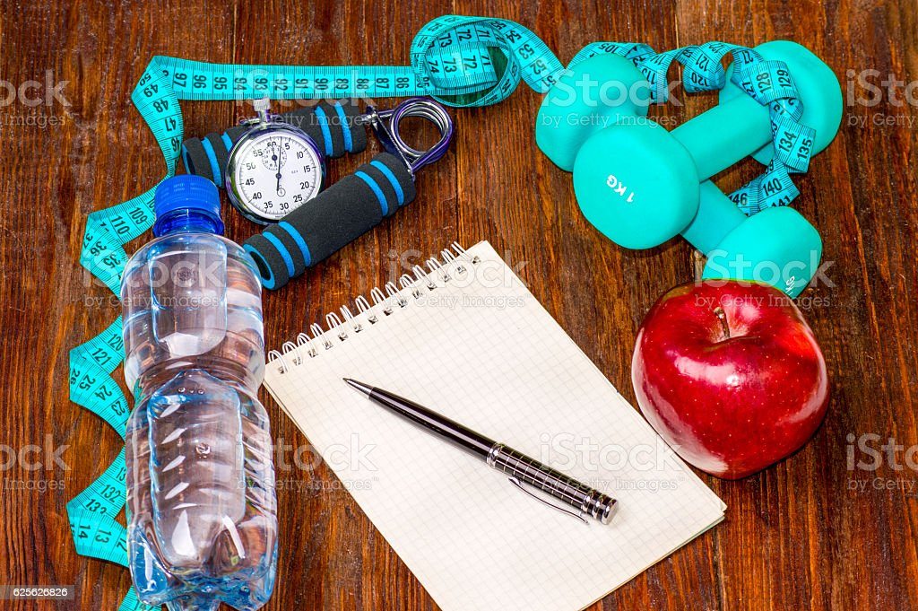 Workout and fitness dieting copy space diary. Healthy lifestyle stock photo