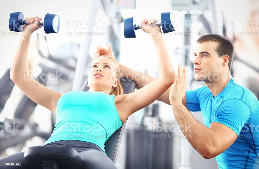 Workout assistance. stock photo