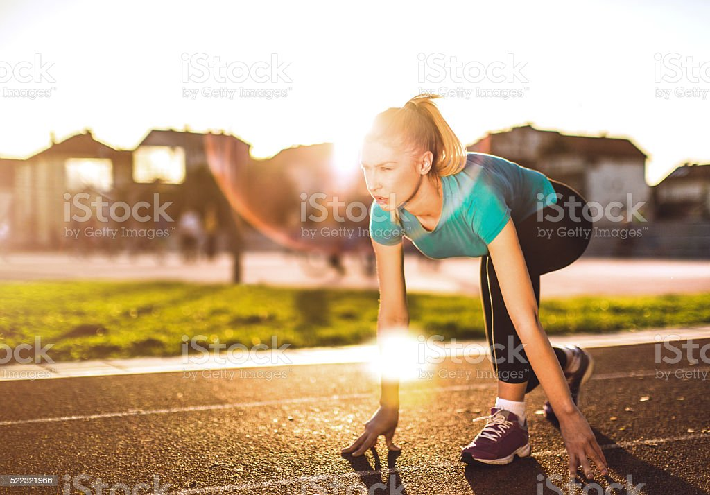 workout at sunset stock photo