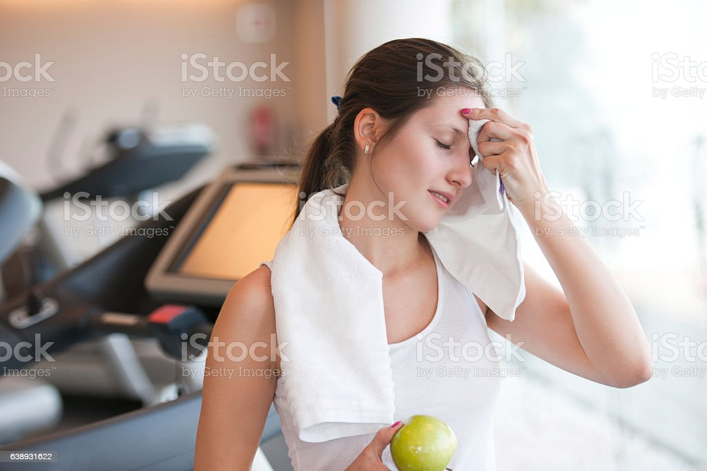 Workout break stock photo