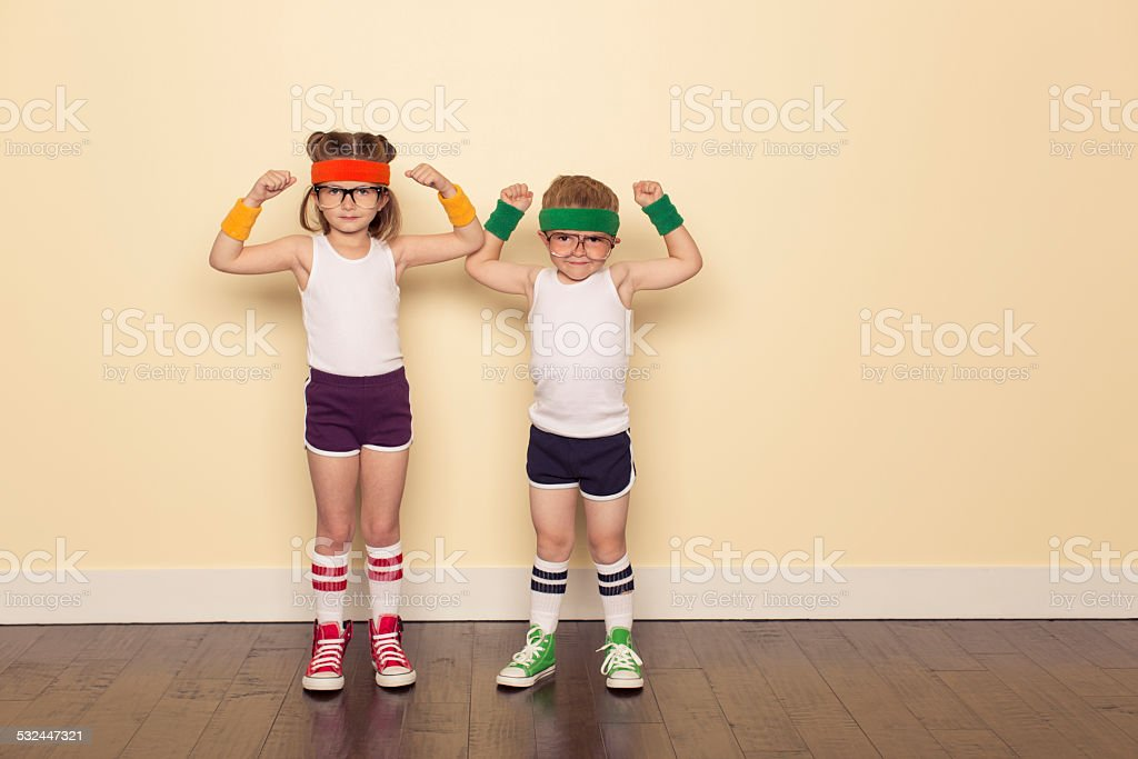 Workout Buddies Flexing Muscles stock photo