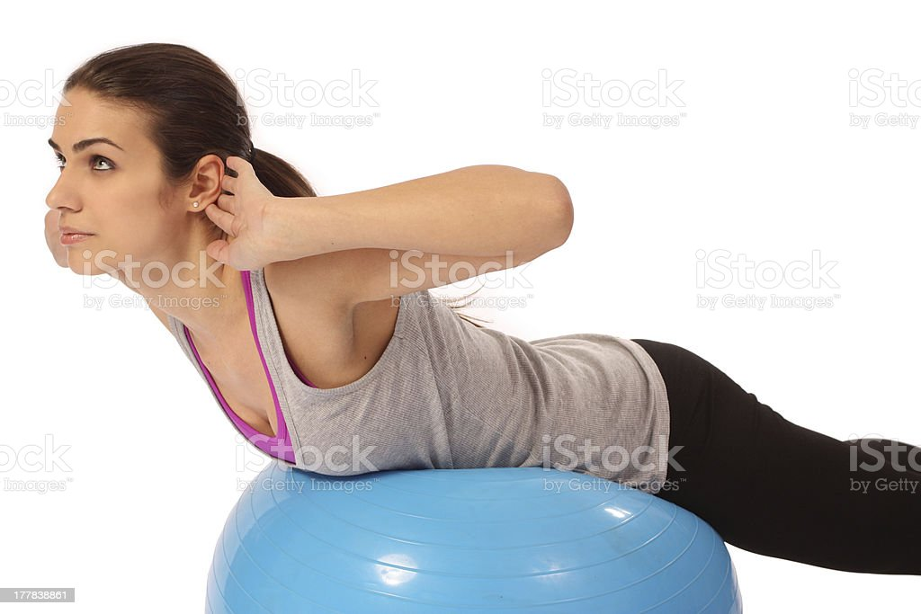 Workout on balance trainer ball royalty-free stock photo