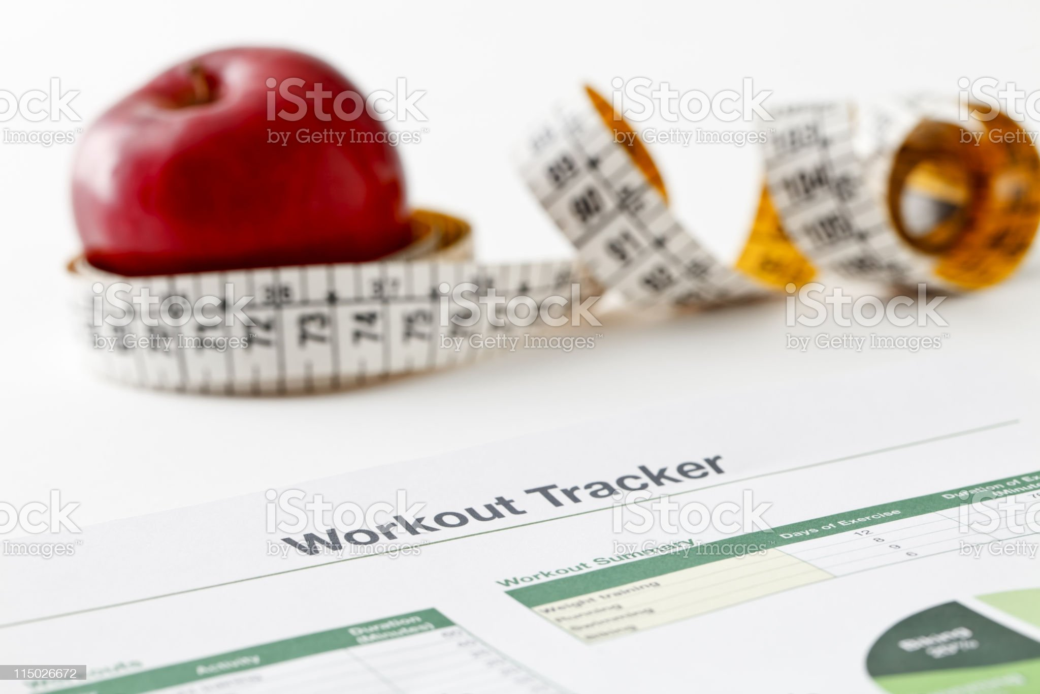 Workout tracker printout royalty-free stock photo