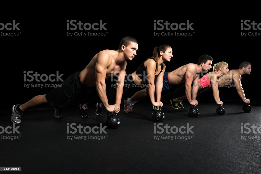 Workout with  kettle bell stock photo